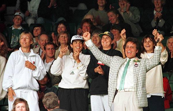 Cliff Richard, Conchita Martínez, Martina Navratilova, Gigi Fernandez, Ines Gorrochategui en Wimbledon  1996
