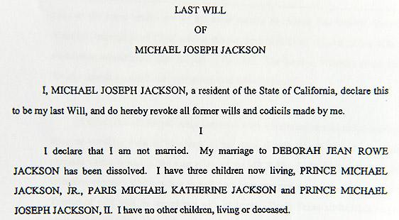 Testamento de Michael Jackson