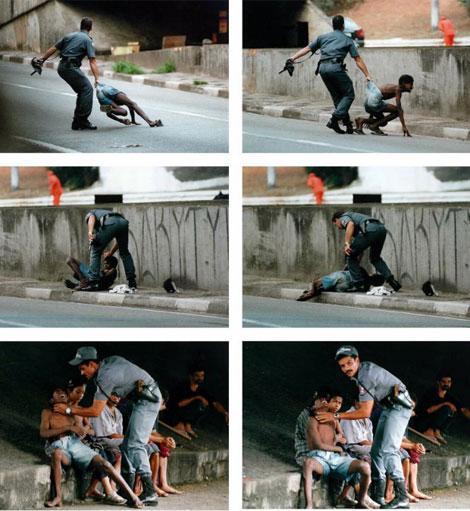 Serie de seis fotos de violencia contra niños de las favelas.