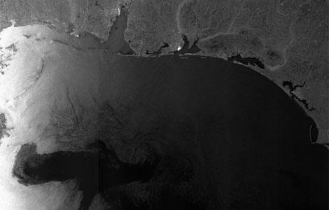 Mancha de petróleo proveniente del golfo de México acercándose a  la costa de Luisiana.