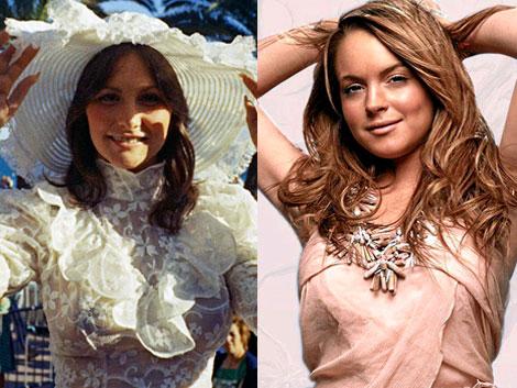 La actriz porno Linda Lovelace (i) y Lindsay Lohan. | AP