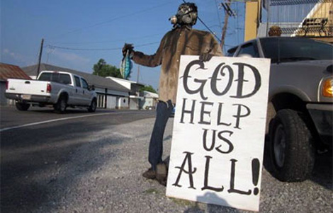 Cartel de protesta en Grand Isle, Luisiana. | C. Fresneda