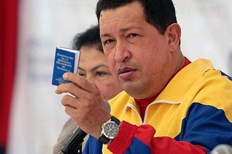 Chávez en una reunión sobre la expropiación de tierras esta semana. | Efe