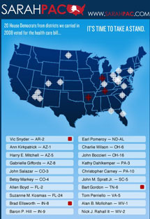 El mapa de objetivos de Palin.