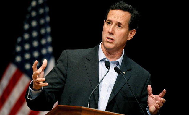 Rick Santorum, durante un discurso.| Afp