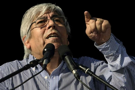 Hugo Moyano durante su discurso.| Afp