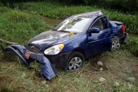Así quedó el coche después del accidente.| Efe
