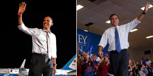 Los candidatos, Obama y Romney, durante su campaña en Ohio. | Reuters