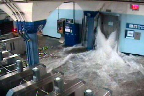Una estación de New Jersey, inundada. | Reuters