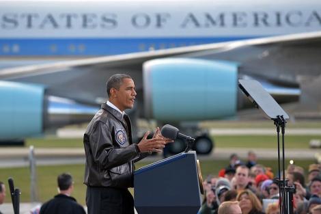 El presidente Barack Obama, durante su mitin en Winconsin. | Afp