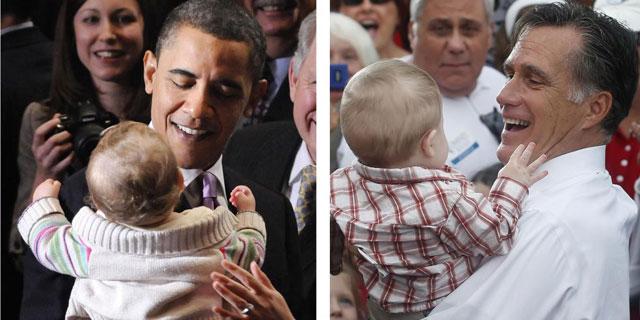 Obama y Romney, con sendos niños en sus campañas electorales.| Reuters