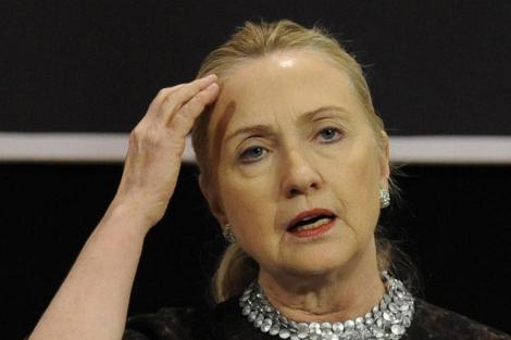 Clinton, en una de sus últimas apariciones públicas en Bruselas. | Afp