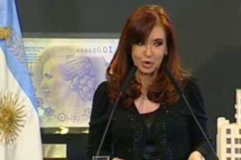 La presidenta de Argentina durante el discurso en el que habló de diabetes.