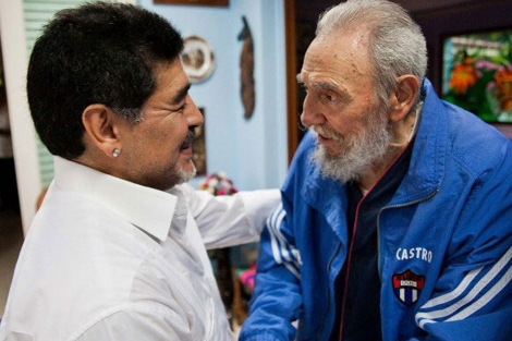 Maradona y Fidel Castro este fin de semana.  Efe