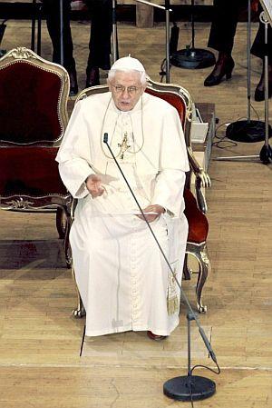 El Papa, durante el discurso