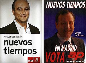 Imagen del cartel de precampa�a de Miguel Sebasti�n (izq.) y del de �lvarez del Manzano en 1987. (B. Rivas/elmundo.es)
