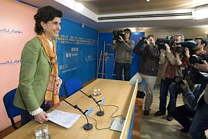 María San Gil en la rueda de prensa
