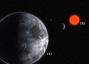Ilustración del nuevo planeta(1) y de 'Gliese 581'(2), la estrella alrededor de la que gira. (Foto: ESO)