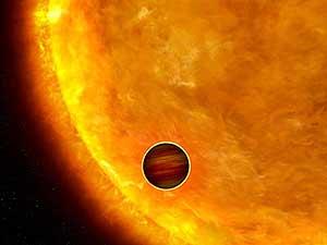 Ilustración del planeta, a su paso por delante del Sol. (Foto. ESA)