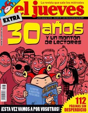 Portada del número especial de 'El Jueves' con motivo del 30 aniversario. (Foto: elmundo.es)