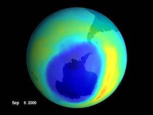 Imagén del agujero de la capa de ozono en septiembre de 2000. (NASA)