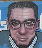 Detalle de la cara de Gallardón en el grafiti. (R. B)