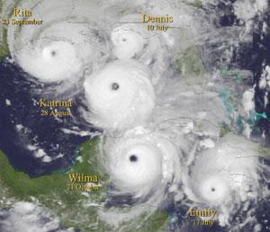 Imagen compuesta que muestra los huracanes que surgieron en 2005 en el Golfo de México. (Foto: Nature)