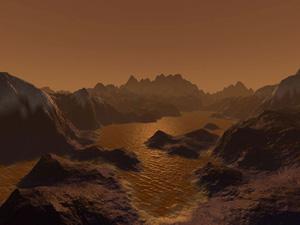 Recreación artística de cómo podrían ser los lagos de hidrocarburos sobre la superficie de Titán. (Ilustración: NASA)