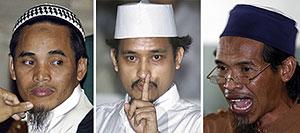 De izq. a dcha., los tres ejecutados: Amrozi, Imam Samudra y 'Mukhlas'. (Foto: REUTERS)