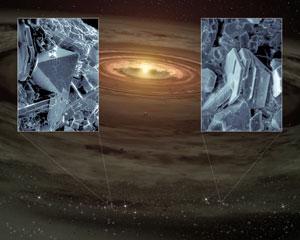 Dos imágenes de los minerales descubiertos, sobre un fondo que muestra una recreación artística del sistema planetario donde se han hallado. (Foto: REUTERS/NASA)