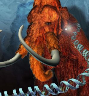 Recreación artística de un mamut con la doble hélice del ADN. (Foto: Penn State University)