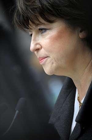Martine Aubry, durante su declaración a los medios. (Foto: AFP)