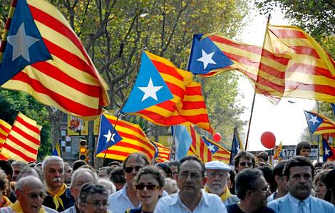 Banderas 'esteladas' durante la última Diada de Cataluña | Foto: Santi Cogolludo