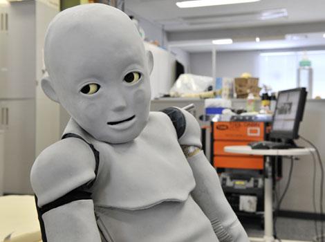 El robot CB2, en el laboratorio donde fue creado en la Universidad de Osaka. | AFP