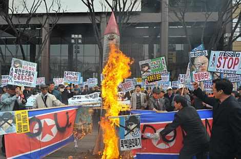 Manifestación cotra Corea del Norte en Seúl.   Afp