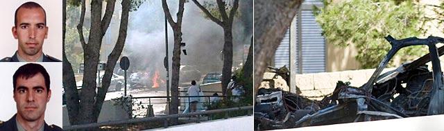 Diego Salva (arriba) y Carlos Sáenz (abajo). A la derecha, los restos del vehículo. | Fotos: Guardia Civil/Efe