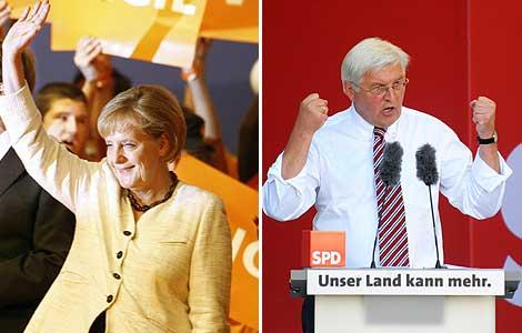 Angela Merkel y Frank-Walter Steinmeier.   Fotos: Efe