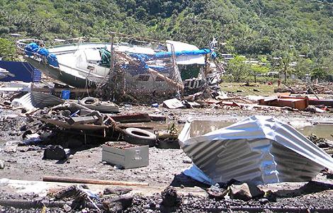 Destrozos causados por el 'tsunami' en la Samoa americana. | Reuters