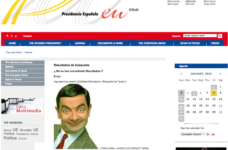 La imagen de Mr. Bean, en la pgina de la presidencia. | Servimedia