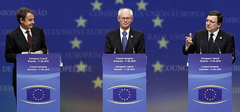 Zapatero, Van Rompuy y Barroso. | Reuters