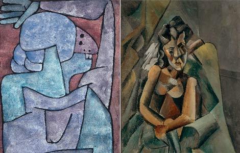 'Verfluchende Frau', de Klee (1939) y 'Femme Assise', de Picasso