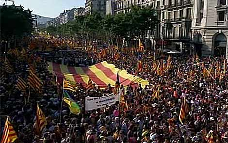 Imagen de la cabecera de la manifestacin en Barcelona. | TV3