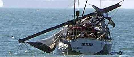 El yate, tras el ataque de la ballena. No hubo heridos. | Efe