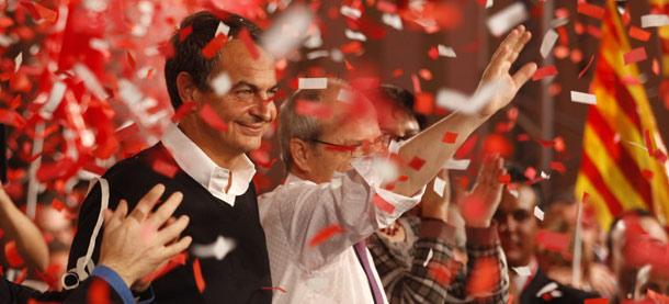Zapatero junto a Montilla en el mitin de Viladecans.| Antonio Moreno