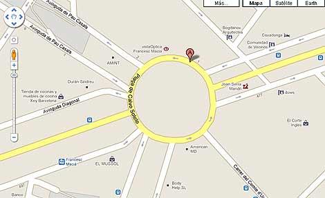Pantalla de la Plaza de Francesc Maciá de Barcelona en Google Maps.