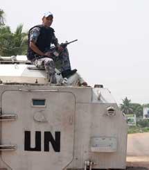 La ONU frente al Hotel Golf. | Ap