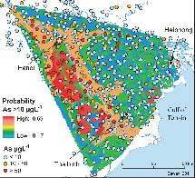 Mapa del delta. En rojo, los pozos muy contaminado y en azul los que lo están menos.|PNAS