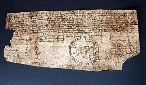 Privilegio rodado de Fernando II (1159), uno de los documentos más antiguos del Museo de Pontevedra.