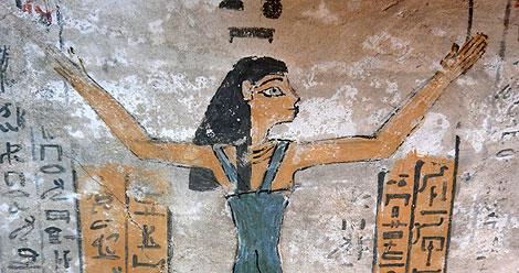 La diosa Nut, representada en la cámara funeraria de Djehuty. | US