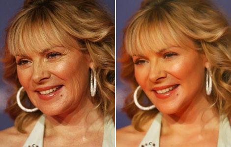 Fotografías de la actriz Kim Cattrall, antes (i) y después (d) de ser retocadas. | PNAS